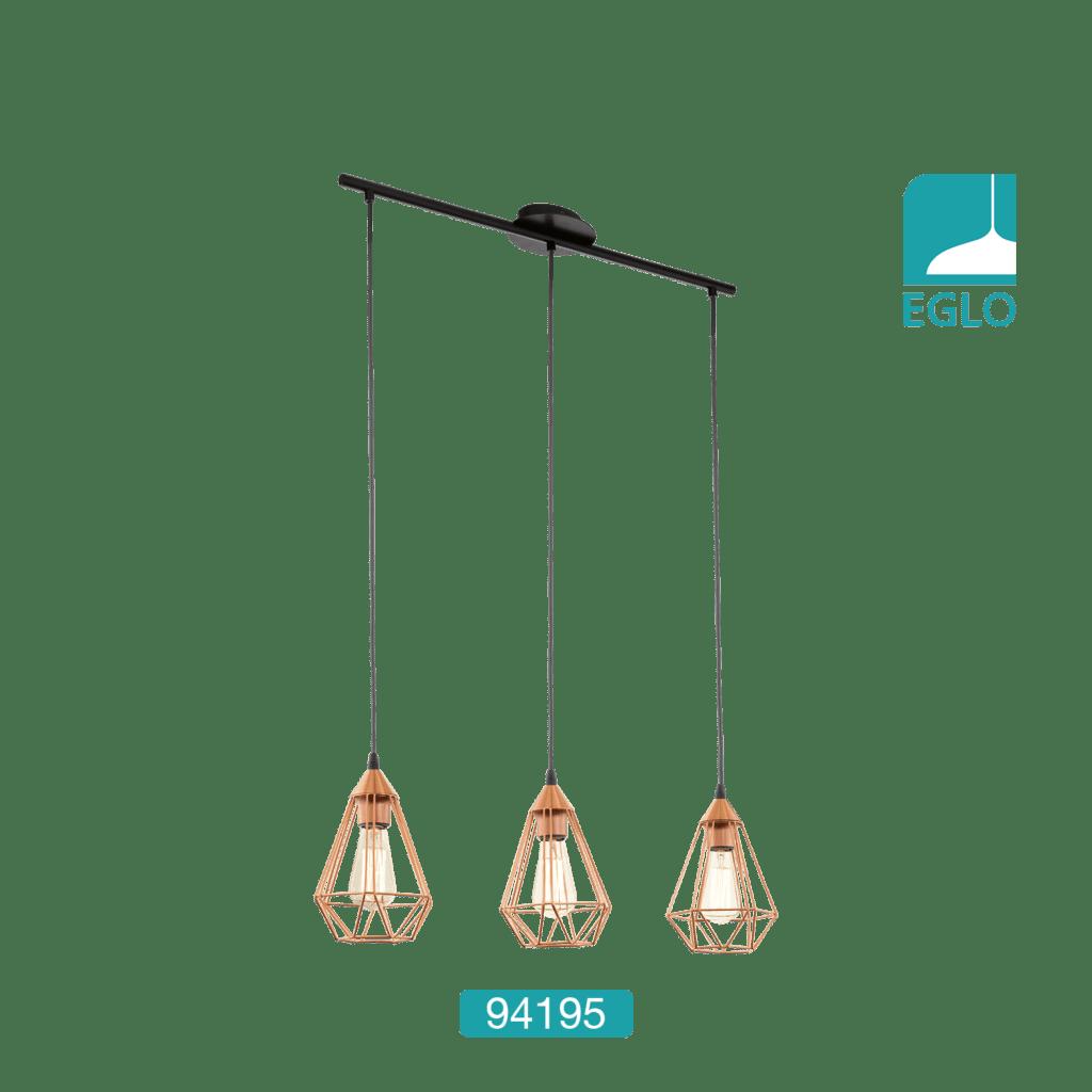 3 Light Ceiling Pendant Copper